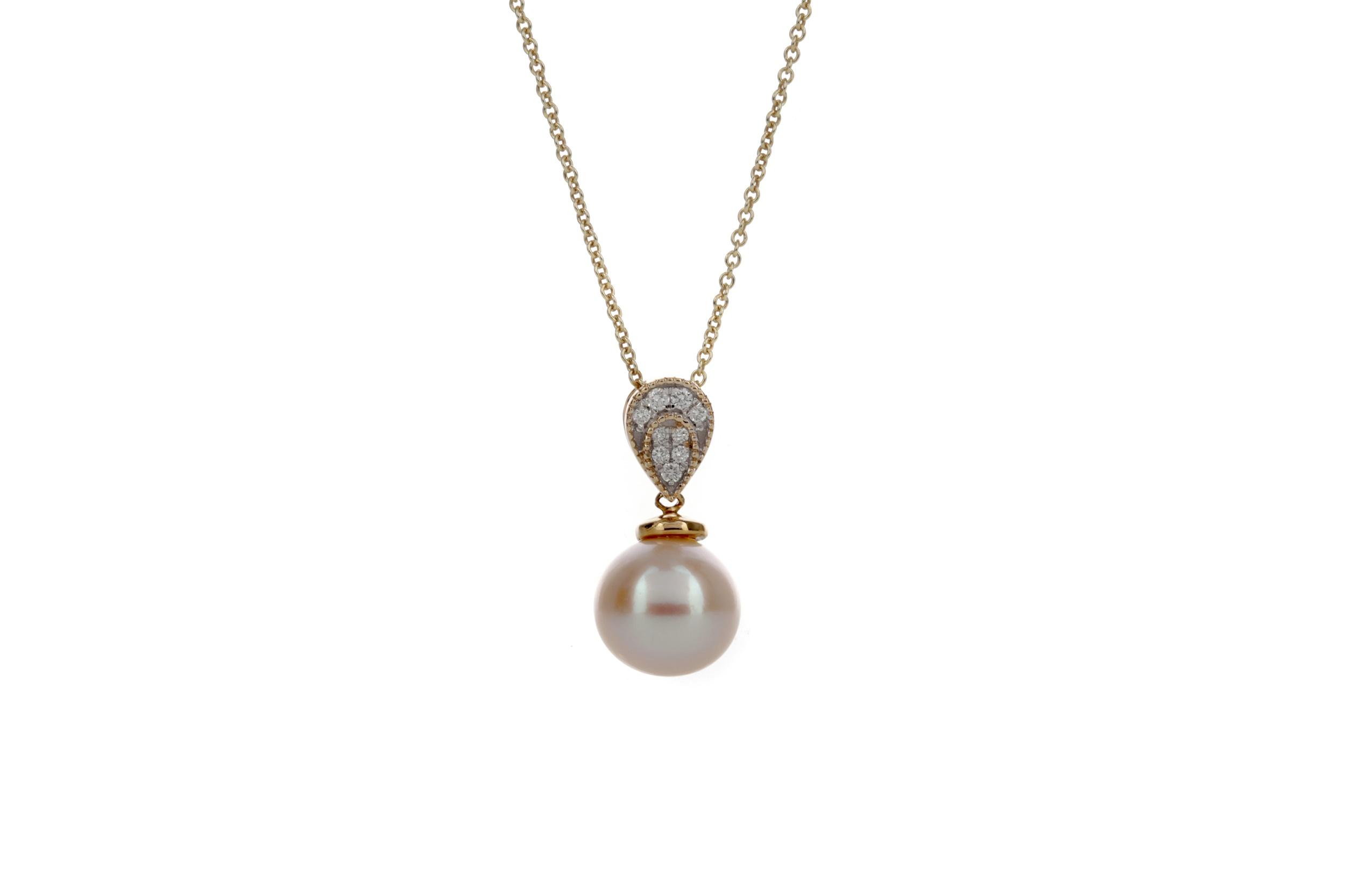 A PEARL AND DIAMOND PENDANT