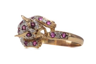A RUBY AND DIAMOND PANTHER RING