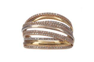 A TRICOLOUR DIAMOND SET RING