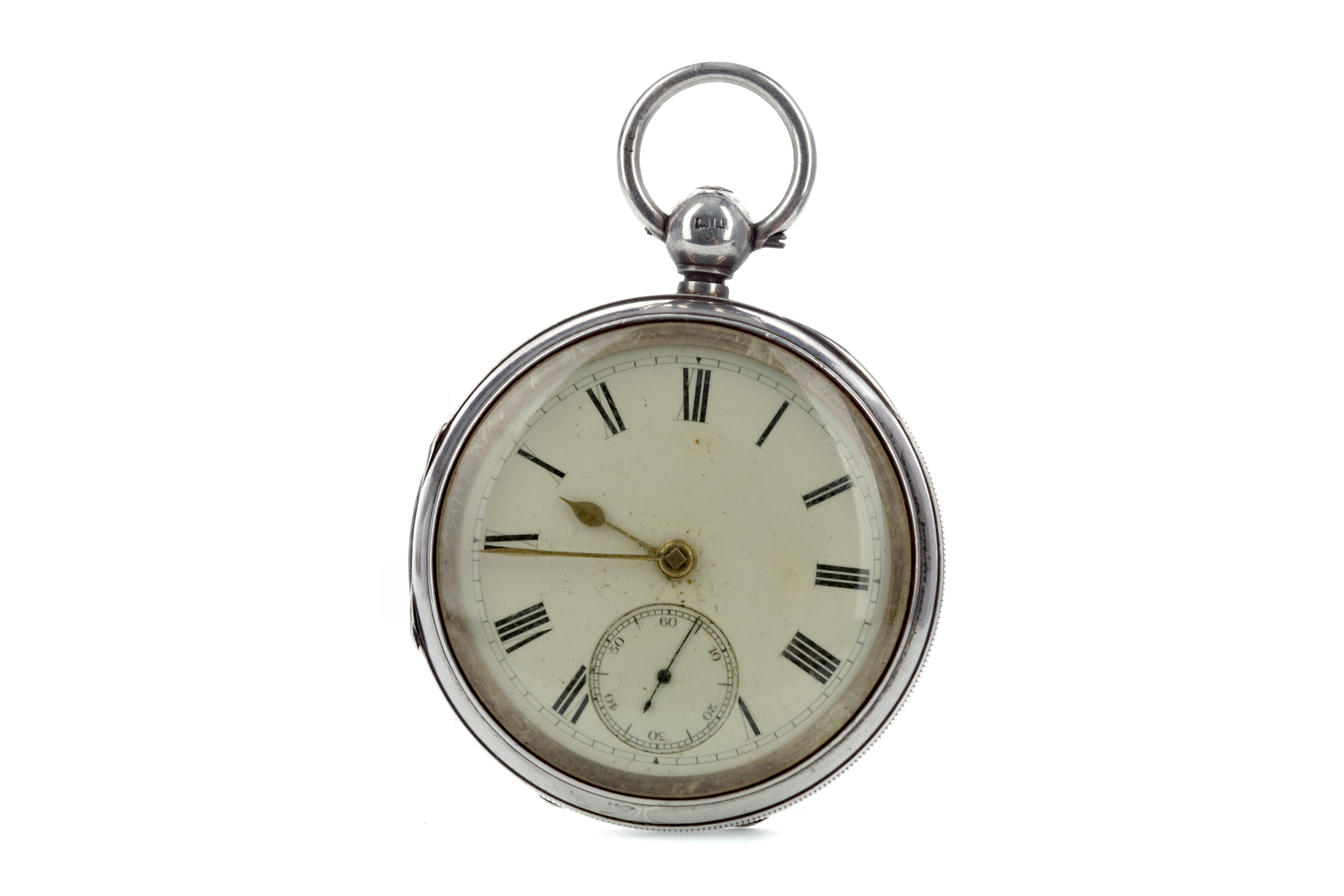 A SILVER CASED OPEN FACE POCKET WATCH WITH GOLD PLATED ALBERT CHAIN
