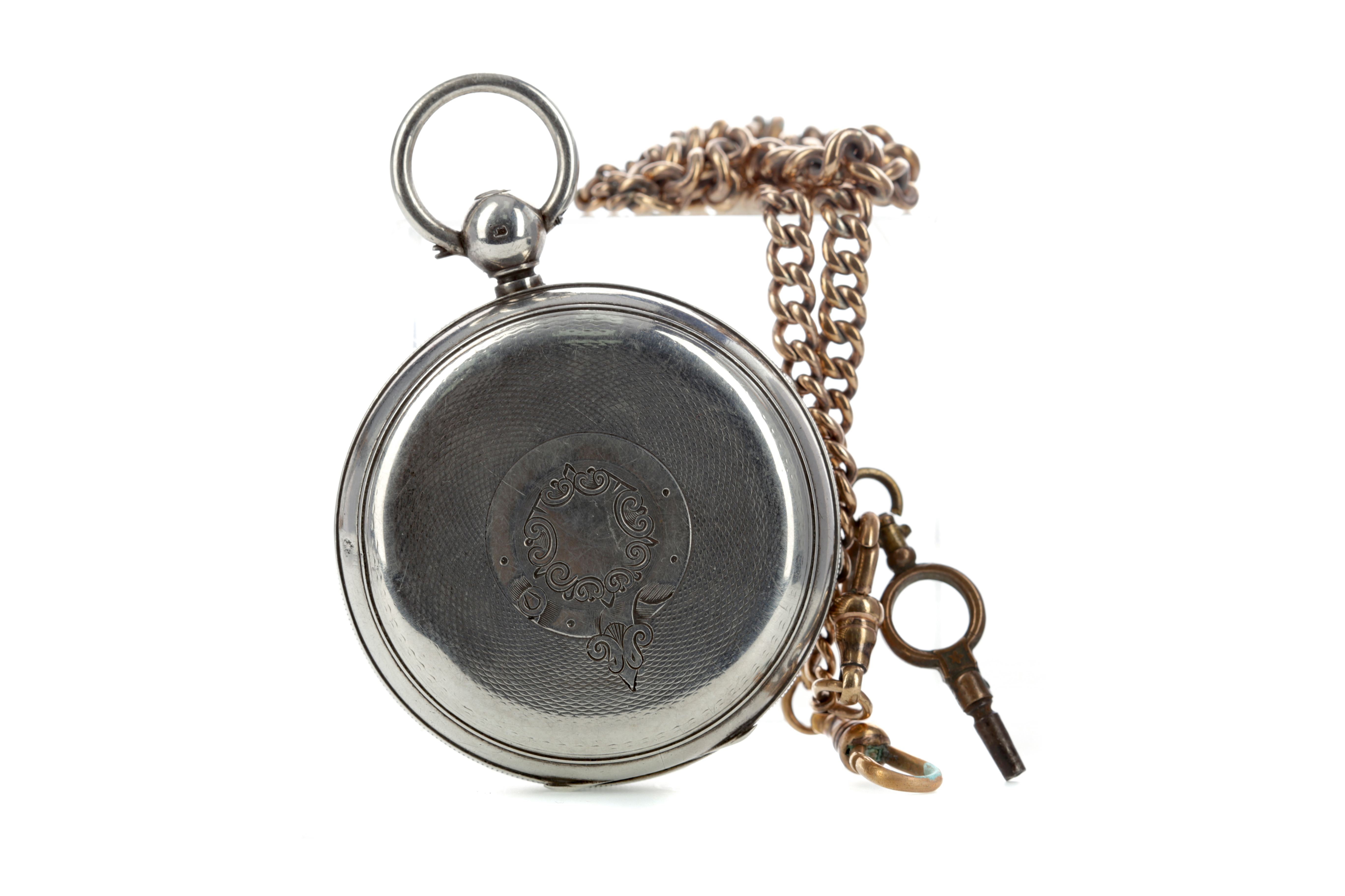 A SILVER CASED OPEN FACE POCKET WATCH WITH GOLD PLATED ALBERT CHAIN - Image 2 of 2