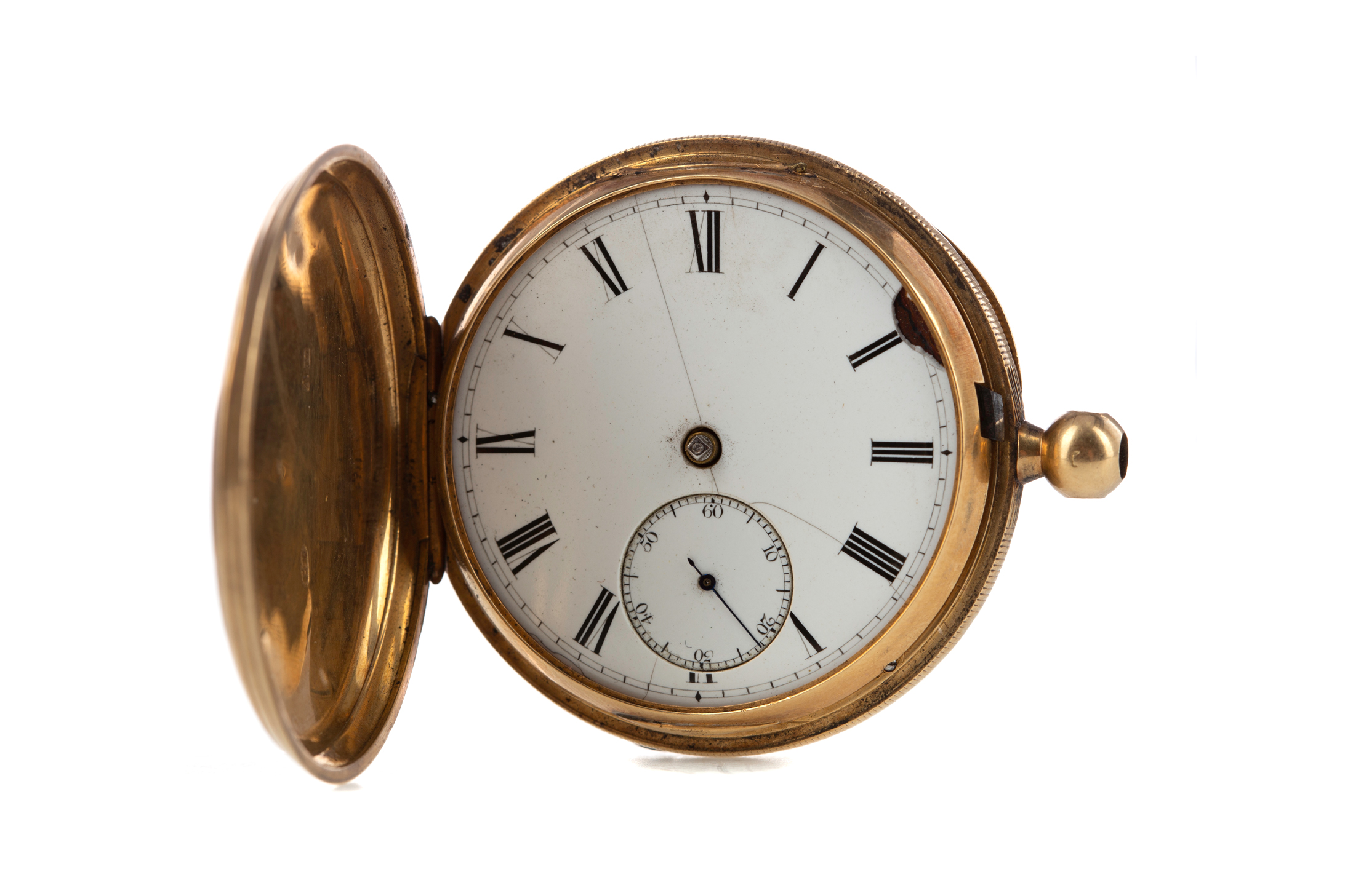 EIGHTEEN CARAT GOLD FULL HUNTER POCKET WATCH, the round white dial with Roman hour markers, - Image 2 of 6