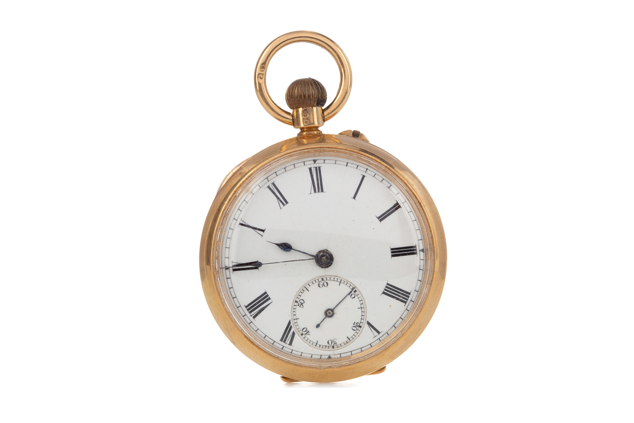 EIGHTEEN CARAT GOLD OPEN FACE FOB WATCH, the round white dial with Roman hour markers, outer seconds