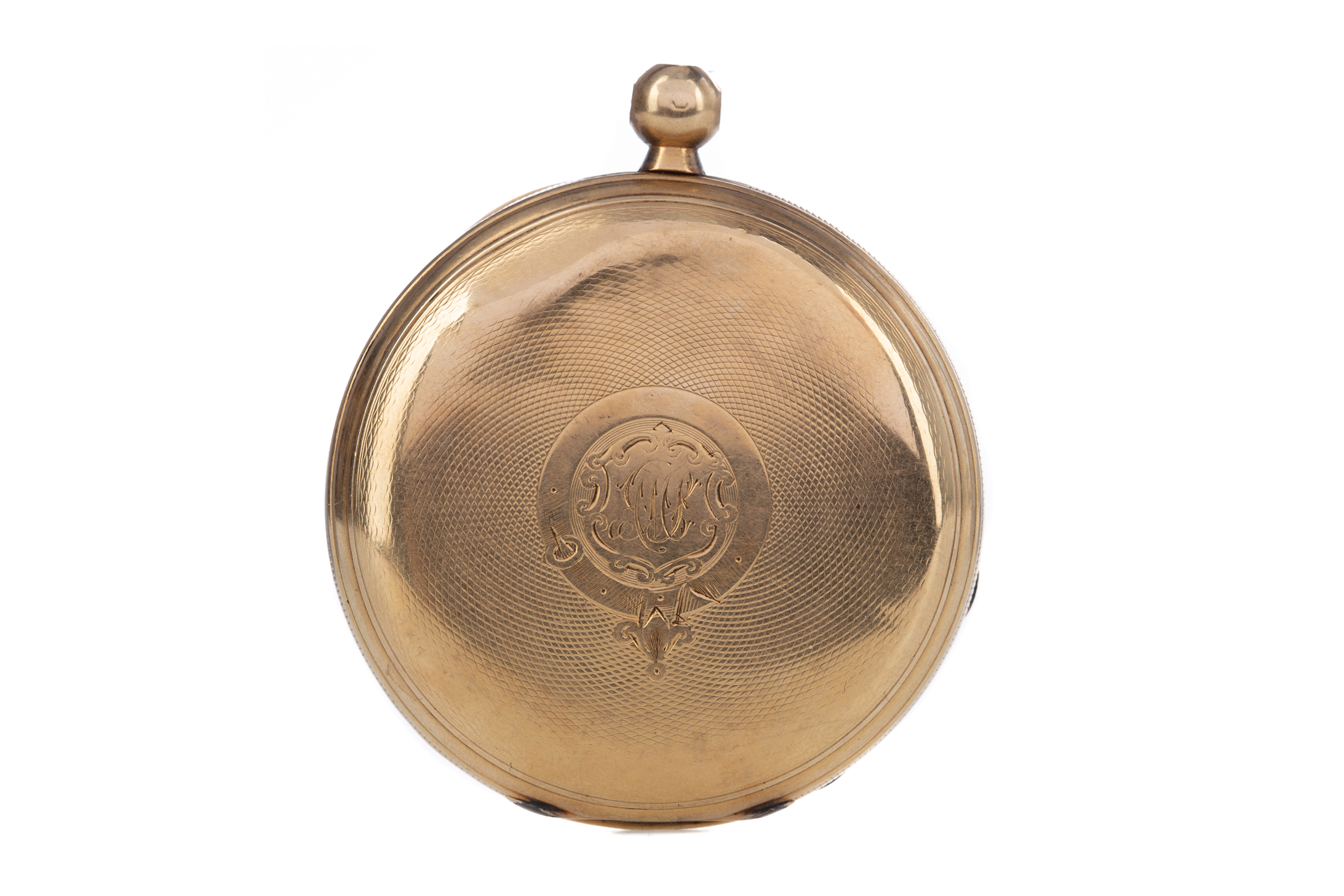 EIGHTEEN CARAT GOLD FULL HUNTER POCKET WATCH, the round white dial with Roman hour markers,