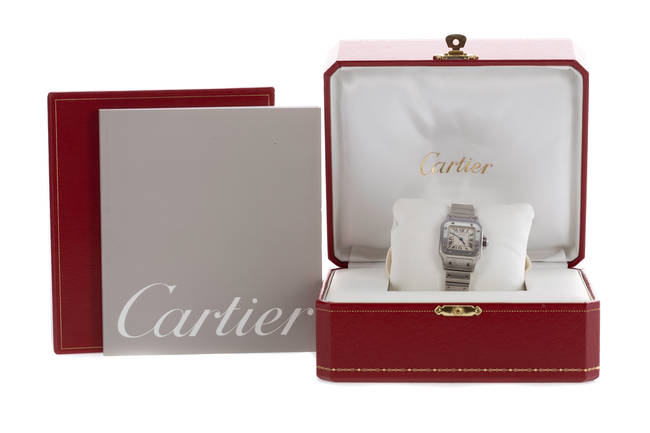CARTIER SANTOS STAINLESS STEEL QUARTZ WRIST WATCH, the square white dial with Roman hour markers, - Image 2 of 3