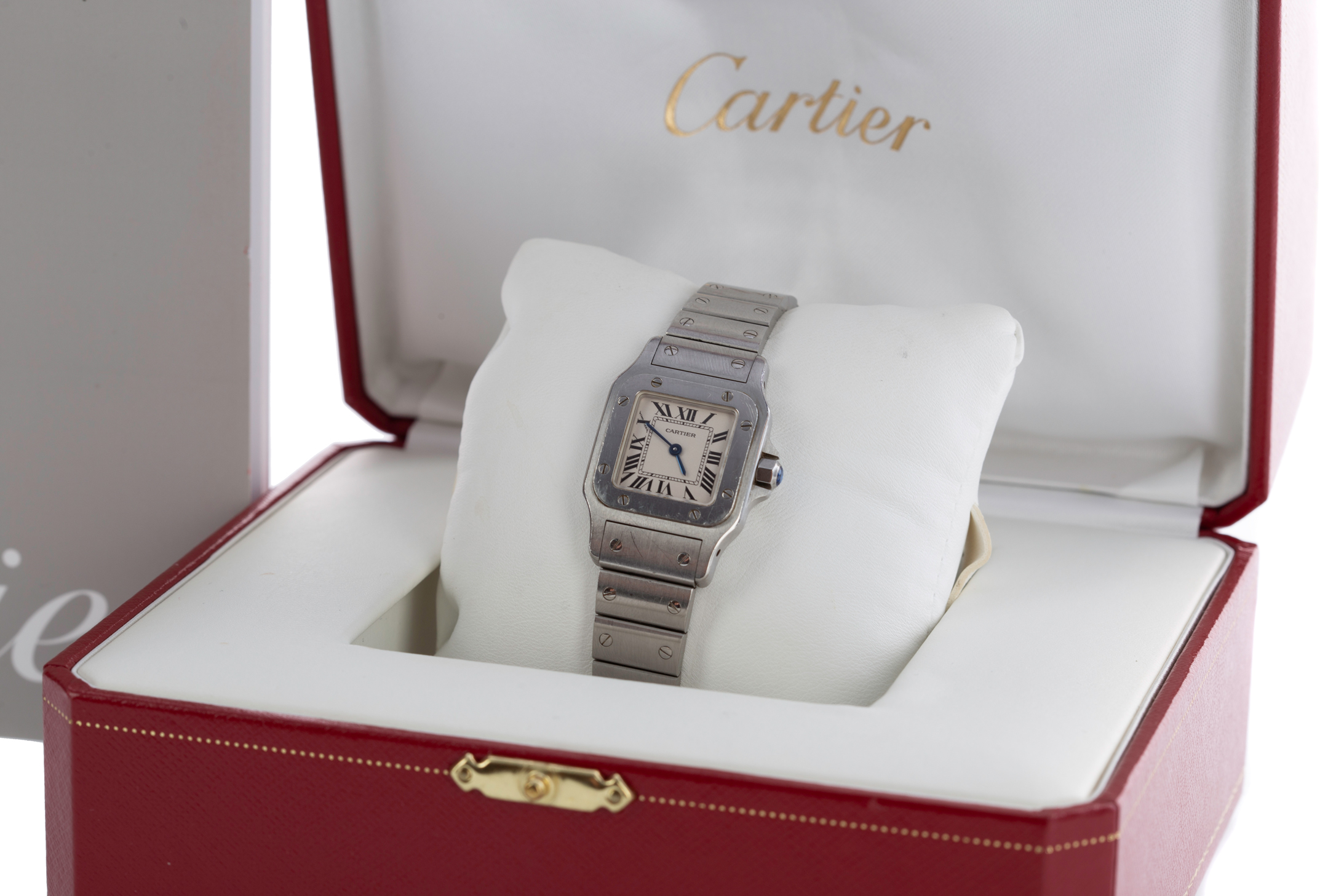 CARTIER SANTOS STAINLESS STEEL QUARTZ WRIST WATCH, the square white dial with Roman hour markers, - Image 3 of 3