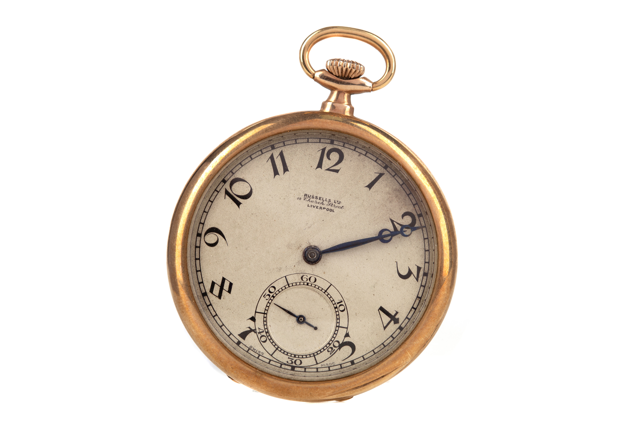 ROLEX CASED OPEN FACE POCKET WATCH, the round silver coloured dial signed 'Russells LTD, 18 Church