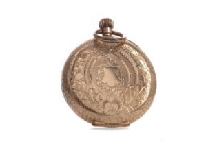 A GOLD CASED OPEN FACE FOB WATCH