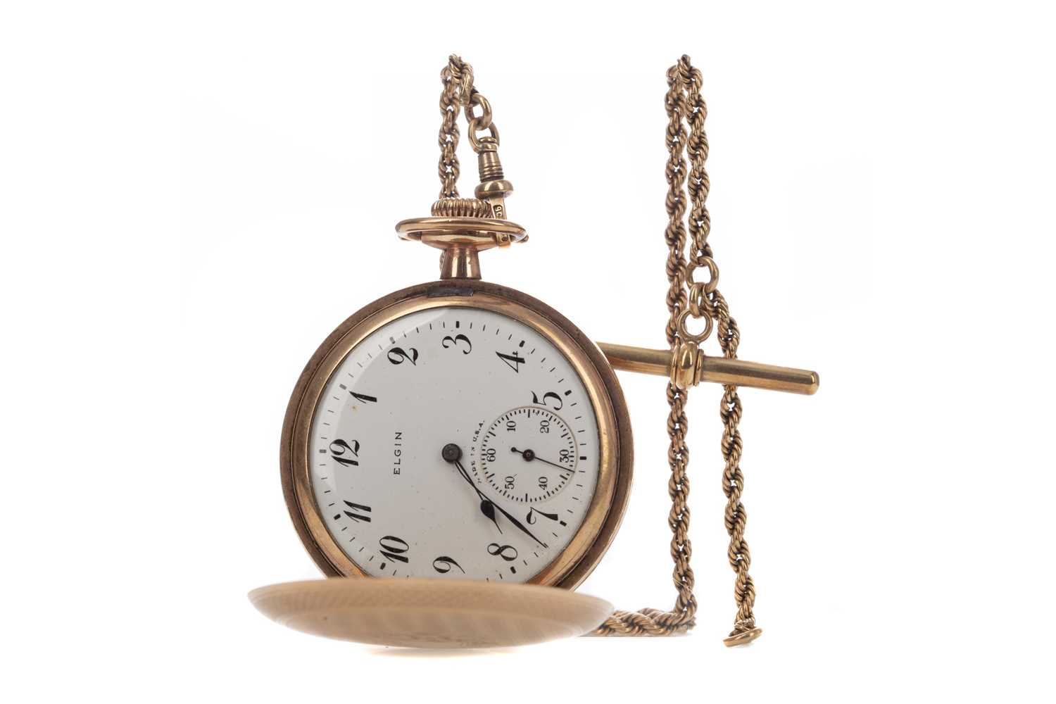 A GOLD PLATED ELGIN POCKET WATCH AND A GOLD WATCH CHAIN - Image 2 of 6
