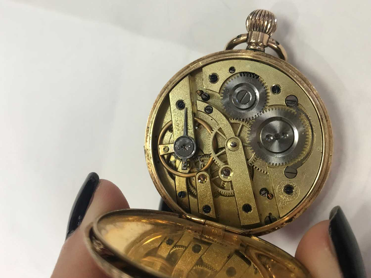 A GOLD CASED OPEN FACE FOB WATCH - Image 4 of 6