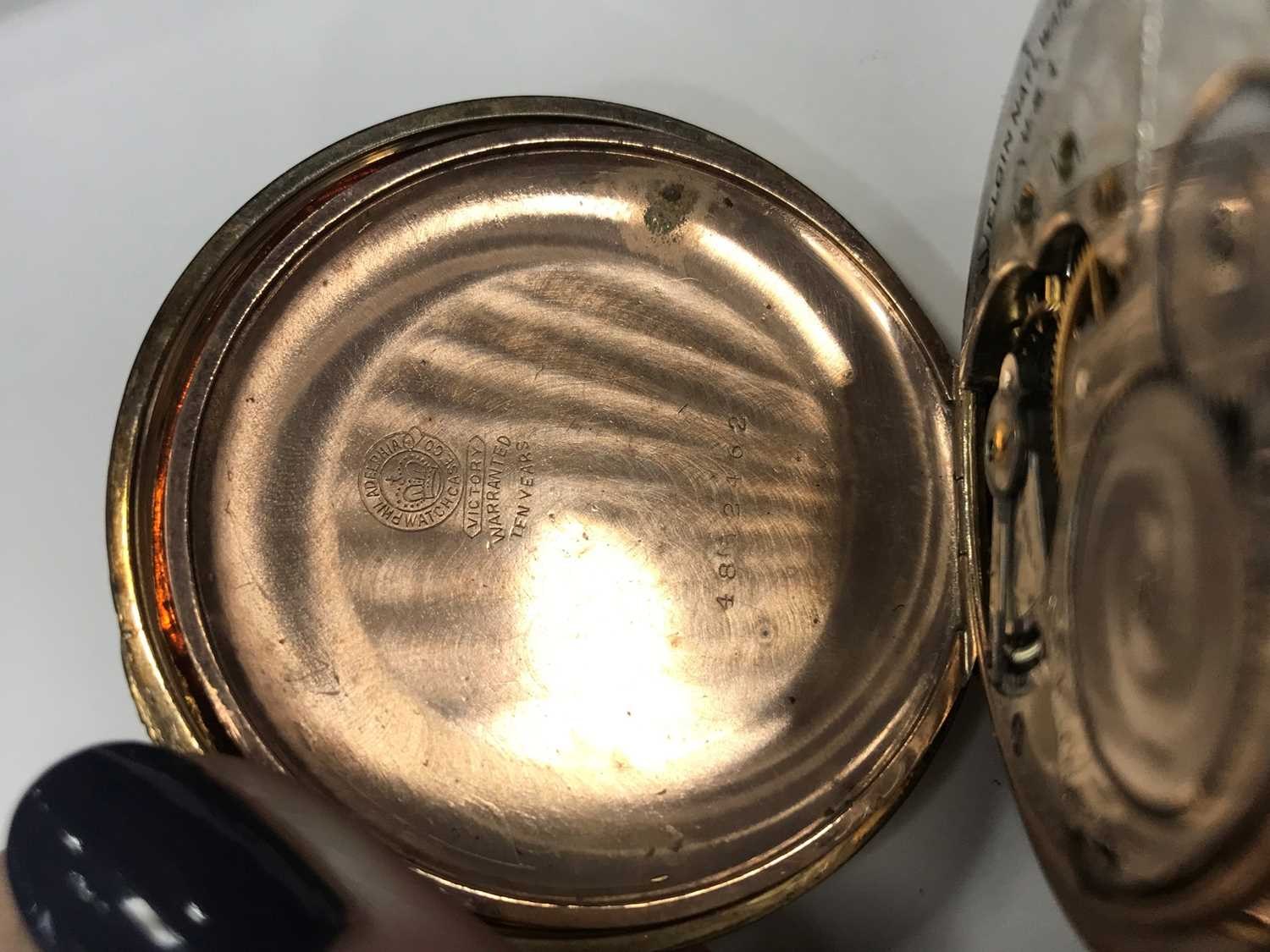 A GOLD PLATED ELGIN POCKET WATCH AND A GOLD WATCH CHAIN - Image 5 of 6