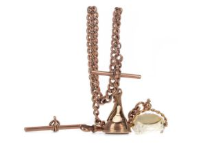 A NINE CARAT GOLD ALBERT CHAIN WITH FOBS