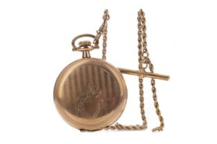 A GOLD PLATED ELGIN POCKET WATCH AND A GOLD WATCH CHAIN