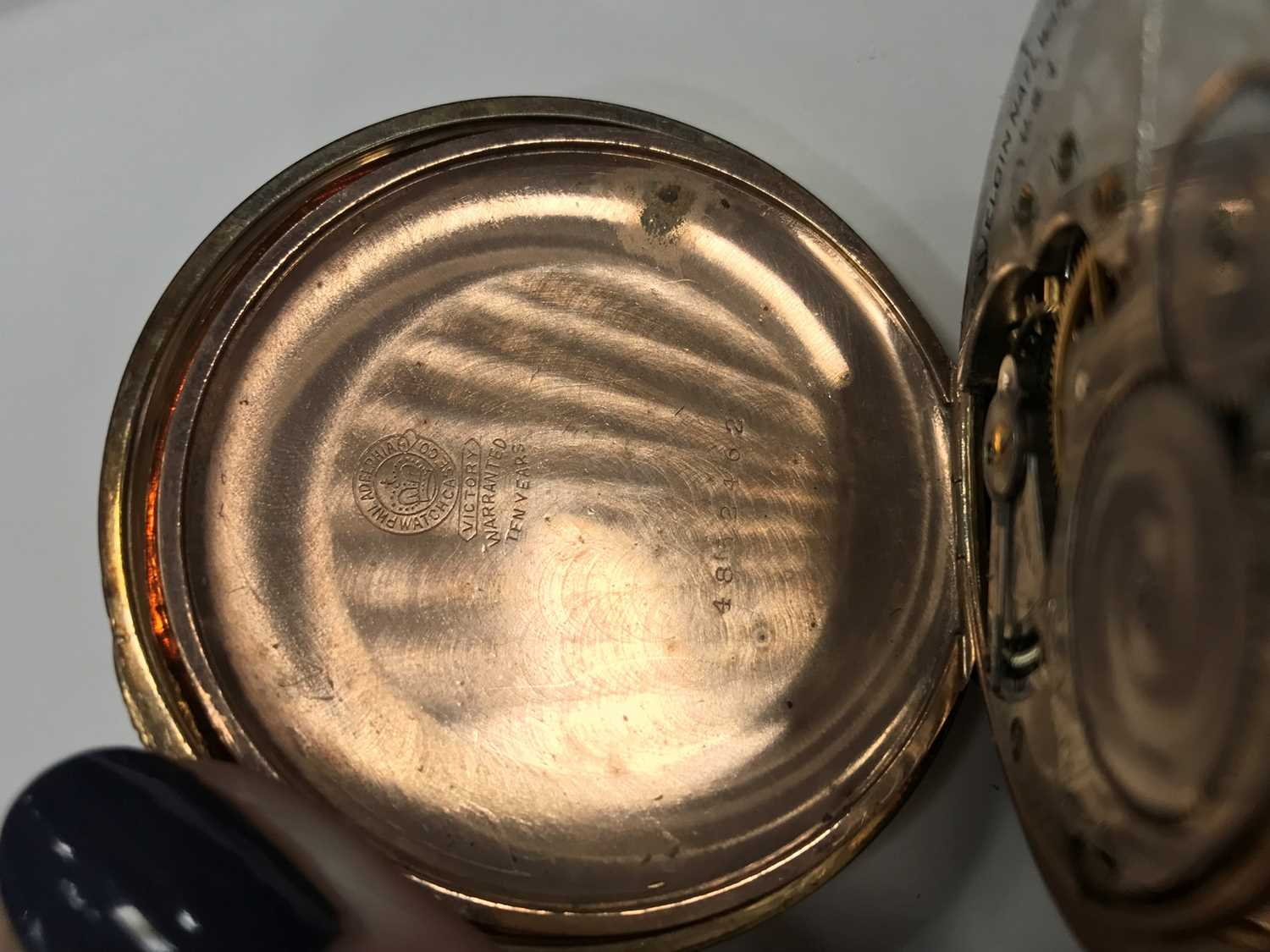 A GOLD PLATED ELGIN POCKET WATCH AND A GOLD WATCH CHAIN - Image 6 of 6