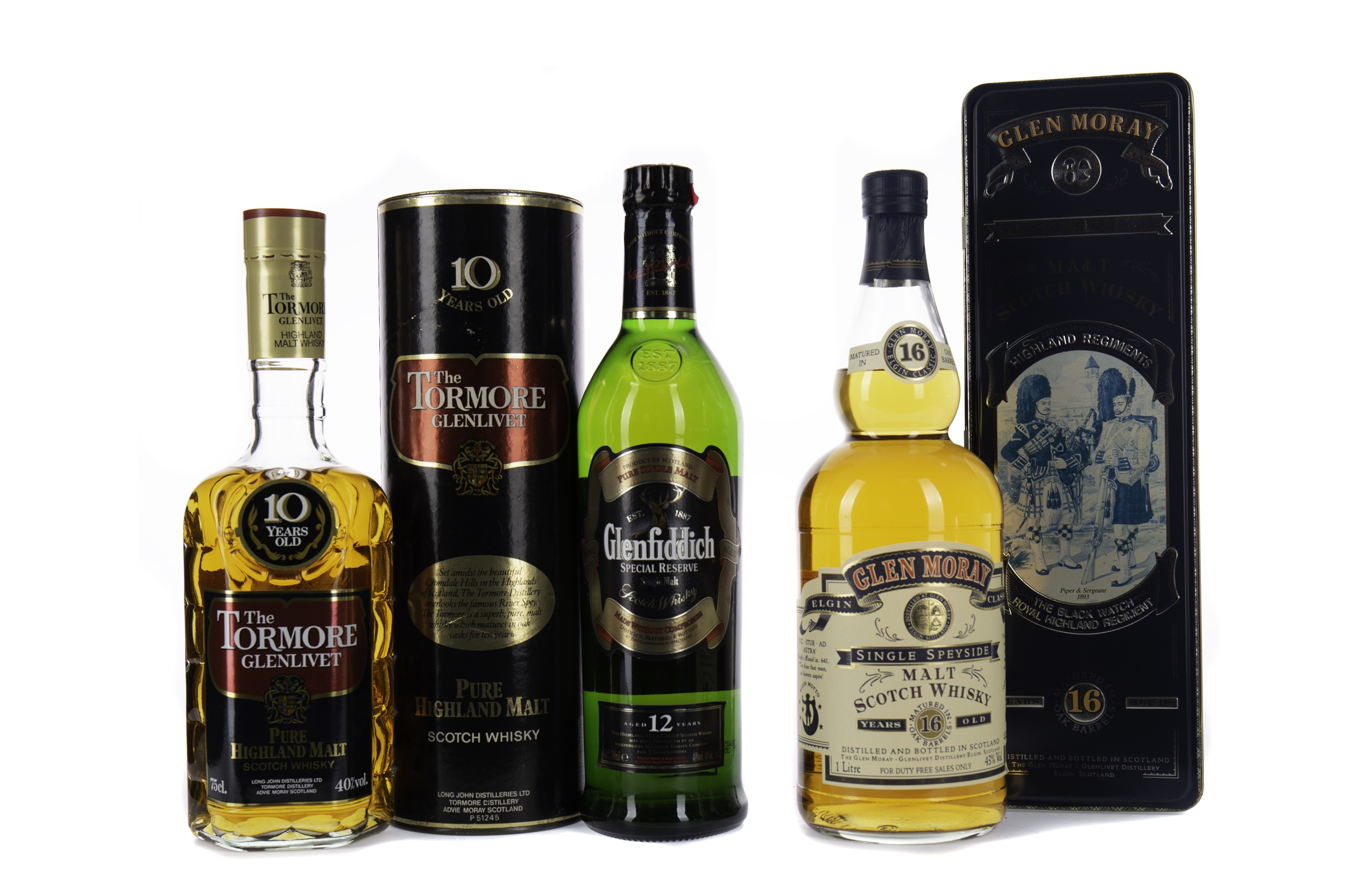TORMORE-GLENLIVET 10 YEARS OLD, GLENFIDDICH 12 YEARS OLD AND GLEN MORAY AGED 16 YEARS