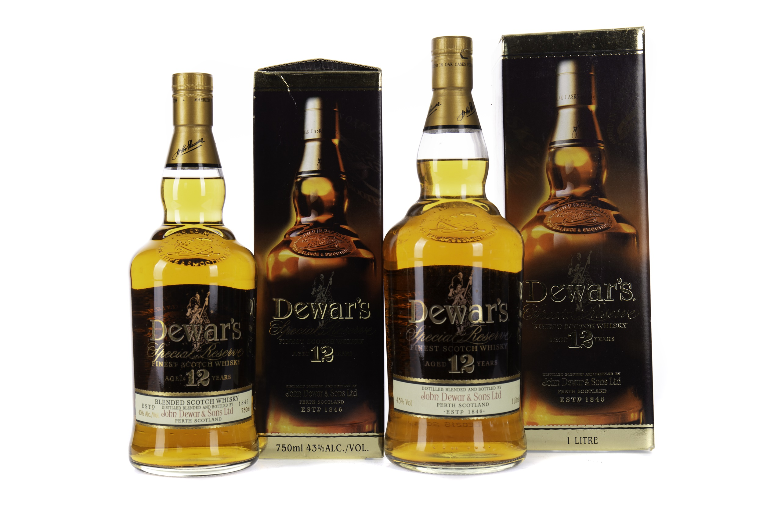 TWO BOTTLES OF DEWAR'S AGED 12 YEARS