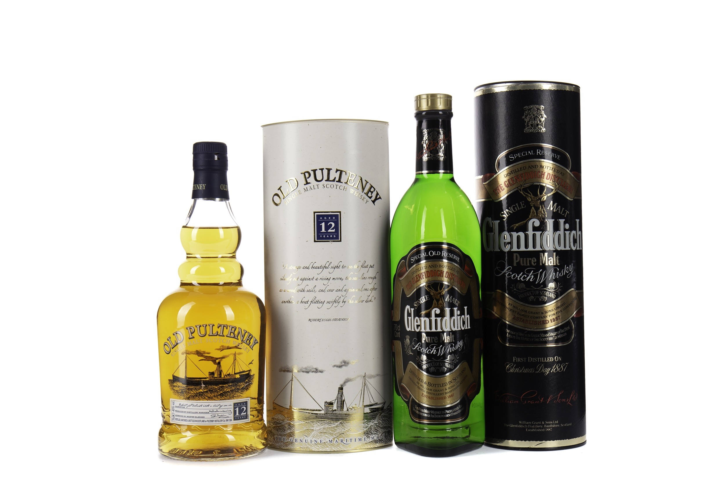 GLENFIDDICH SPECIAL OLD RESERVE AND OLD PULTENEY AGED 12 YEARS