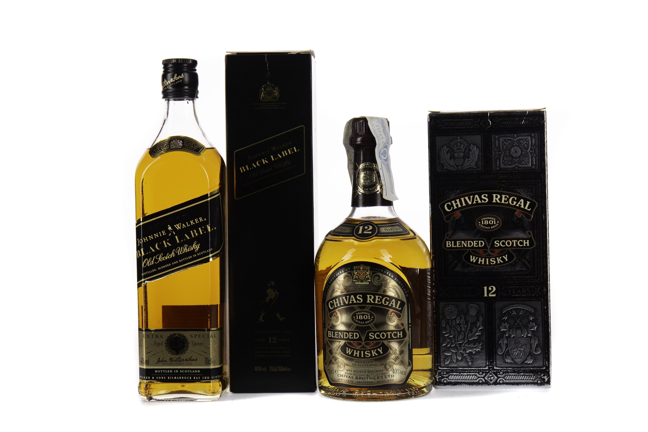 JOHNNIE WALKER BLACK LABEL AGED 12 YEARS AND CHIVAS REGAL AGED 12 YEARS