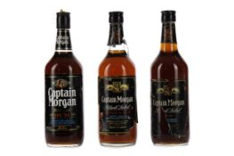 THREE BOTTLES OF CAPTAIN MORGAN BLACK LABEL