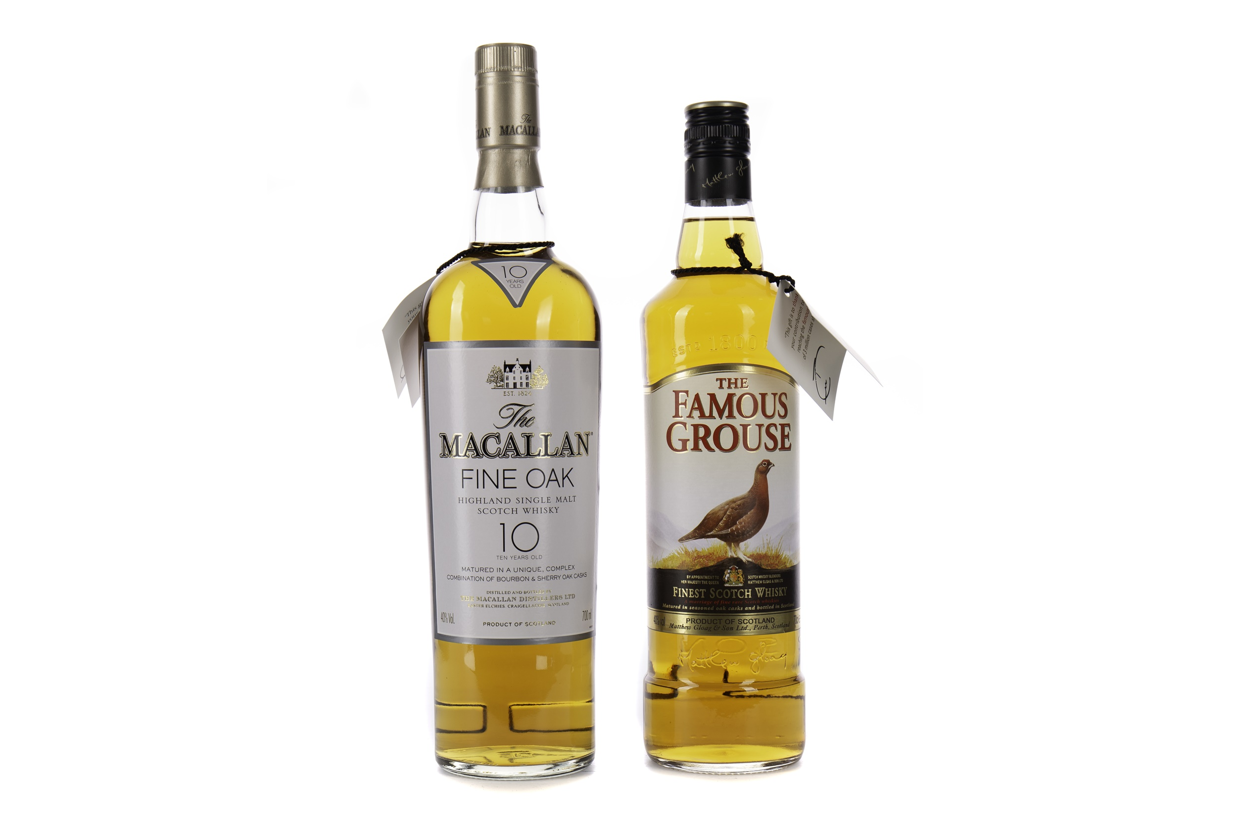 MACALLAN FINE OAK 10 YEARS OLD AND FAMOUS GROUSE