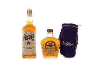 JAMES E PEPPER AND A HALF BOTTLE OF CROWN ROYAL