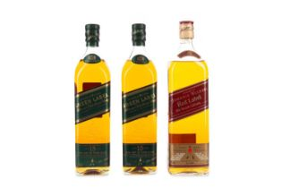 TWO BOTTLES OF JOHNNIE WALKER GREEN LABEL AGED 15 YEARS, AND RED LABEL