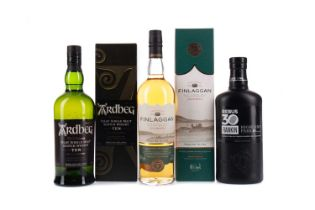 HIGHLAND PARK REBUS 30 AGED 10 YEARS, ARDBEG 10 YEARS OLD, AND FINLAGGAN OLD RESERVE