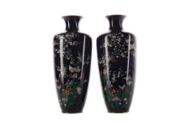 A PAIR OF EARLY 20TH CENTURY JAPANESE CLOISONNE ENAMEL VASES