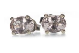 A PAIR OF MORGANITE STUD EARRINGS