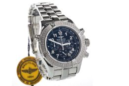 A GENTLEMAN'S BREITLING LIMITED EDITION CHRONOGRAPH RATTRAPANTE STAINLESS STEEL AUTOMATIC WRIST WATC
