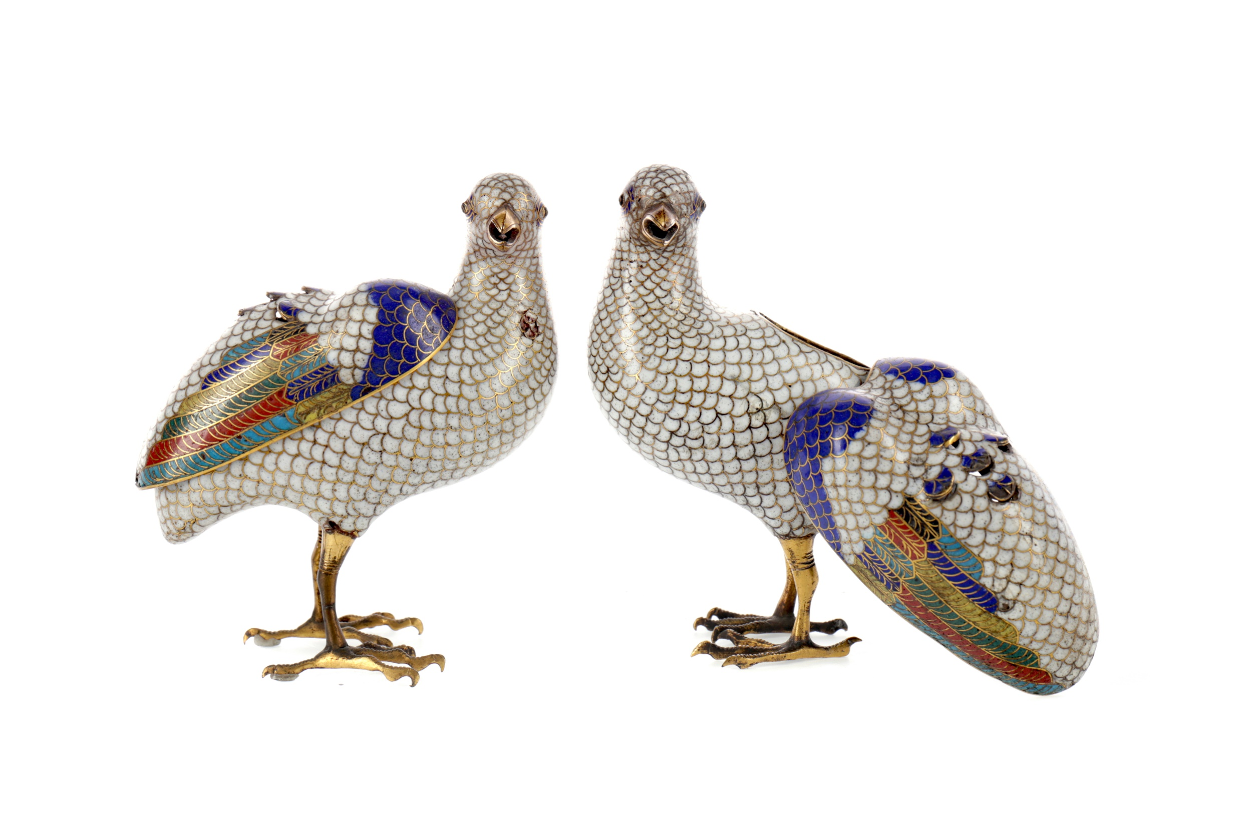 A PAIR OF LATE 19TH CENTURY CHINESE CLOISONNÉ INCENSE BURNERS