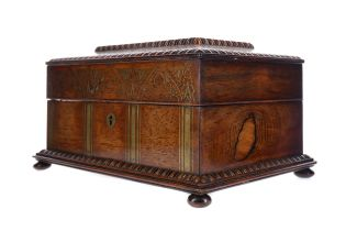 A VICTORIAN BRASS INLAID ROSEWOOD SEWING BOX