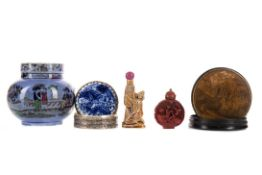 TWO EARLY 20TH CENTURY CHINESE SNUFF BOTTLES, ALONG WITH A SNUFF BOX, PILL BOX AND A COVERED JAR