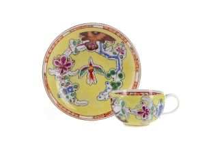 A MID-19TH CENTURY CONTINENTAL PORCELAIN TEACUP AND SAUCER