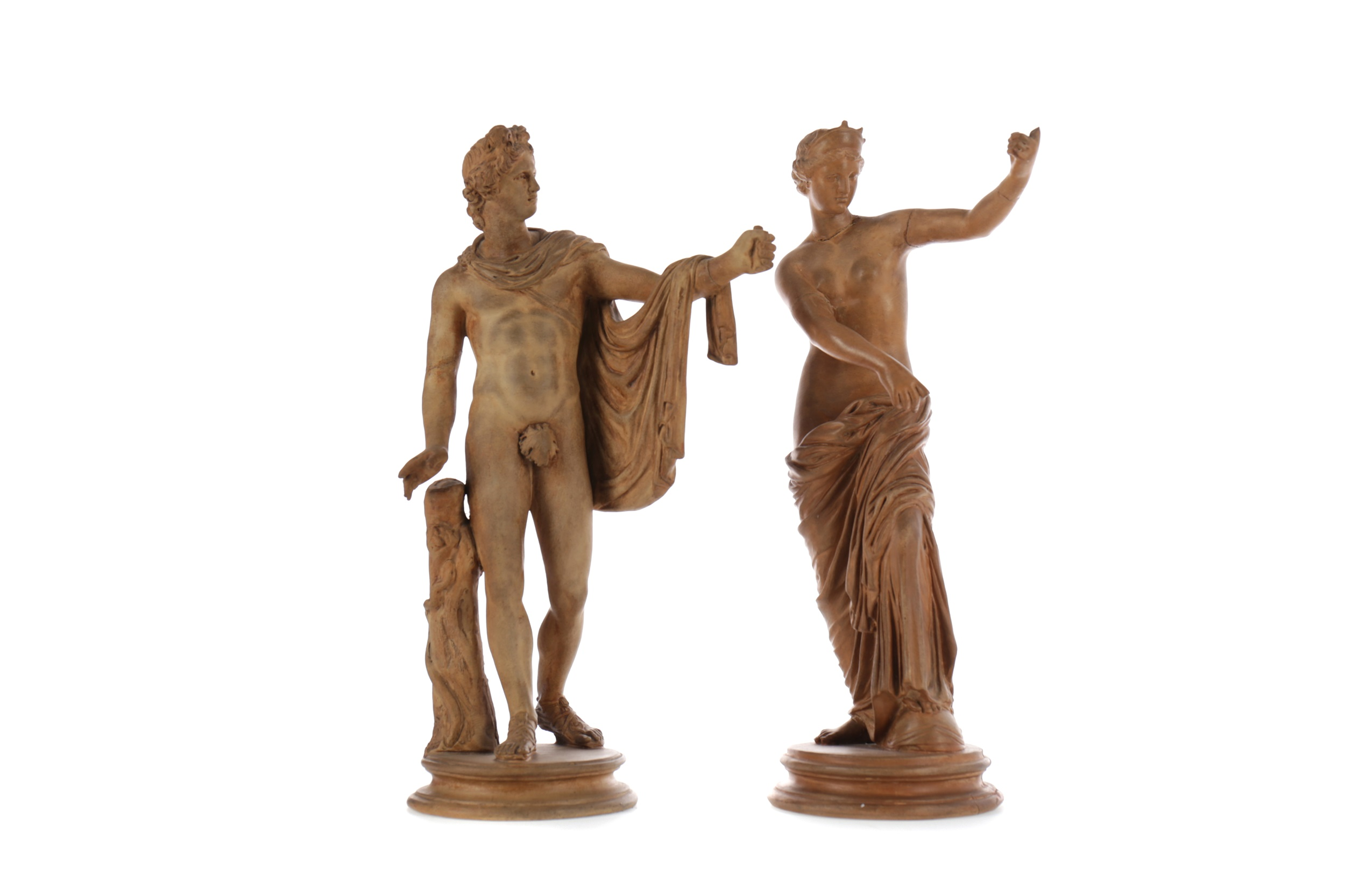A PAIR OF LATE VICTORIAN TERRACOTTA FIGURES AFTER THE ANTIQUE