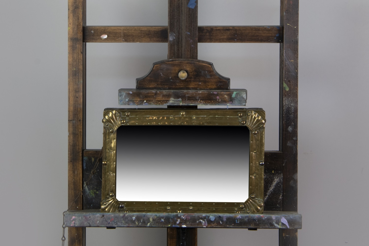 A LATE 19TH CENTURY BRASS WALL MIRROR