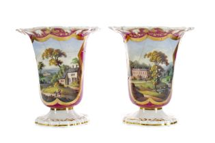 A PAIR OF EARLY 19TH CENTURY ENGLISH PORCELAIN SPILL VASES, ALONG WITH ANOTHER