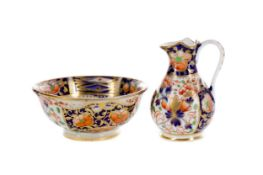 THREE EARLY 19TH CENTURY ENGLISH PORCELAIN MINIATURE WASH BOWLS AND EWERS
