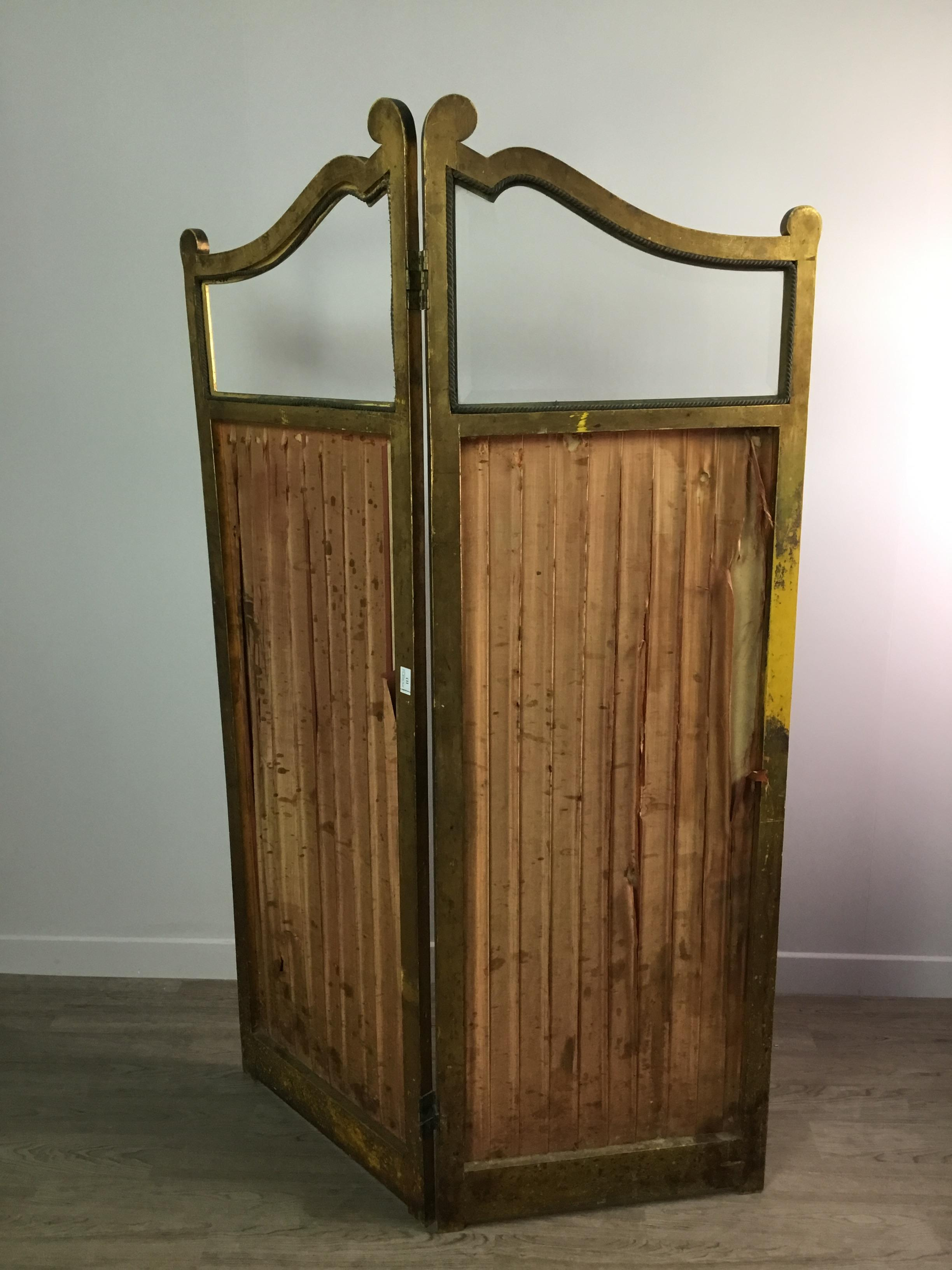 A LATE VICTORIAN GILTWOOD TWO PANEL DRESSING SCREEN - Image 4 of 4
