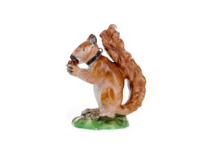 A LATE 18TH CENTURY ENGLISH PORCELAIN RED SQUIRREL