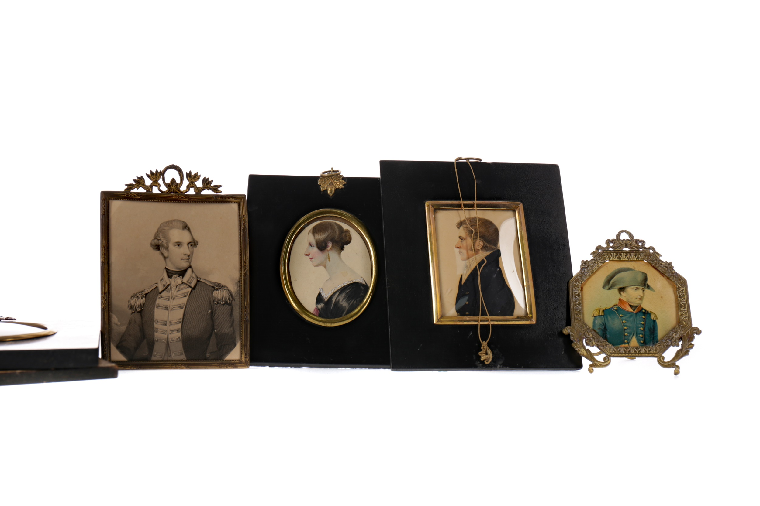 A COLLECTION OF THREE FRAMED 19TH CENTURY PORTAIT MINIATURES, ALONG WITH FIVE FRAMES