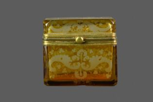 A LATE 19TH CENTURY BOHEMIAN AMBER FLASHED GLASS CASKET