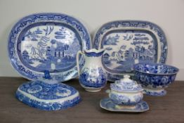 A COMPOSITE SET OF SEVEN GRADUATED VICTORIAN BLUE & WHITE STONEWARE SERVING DISHES