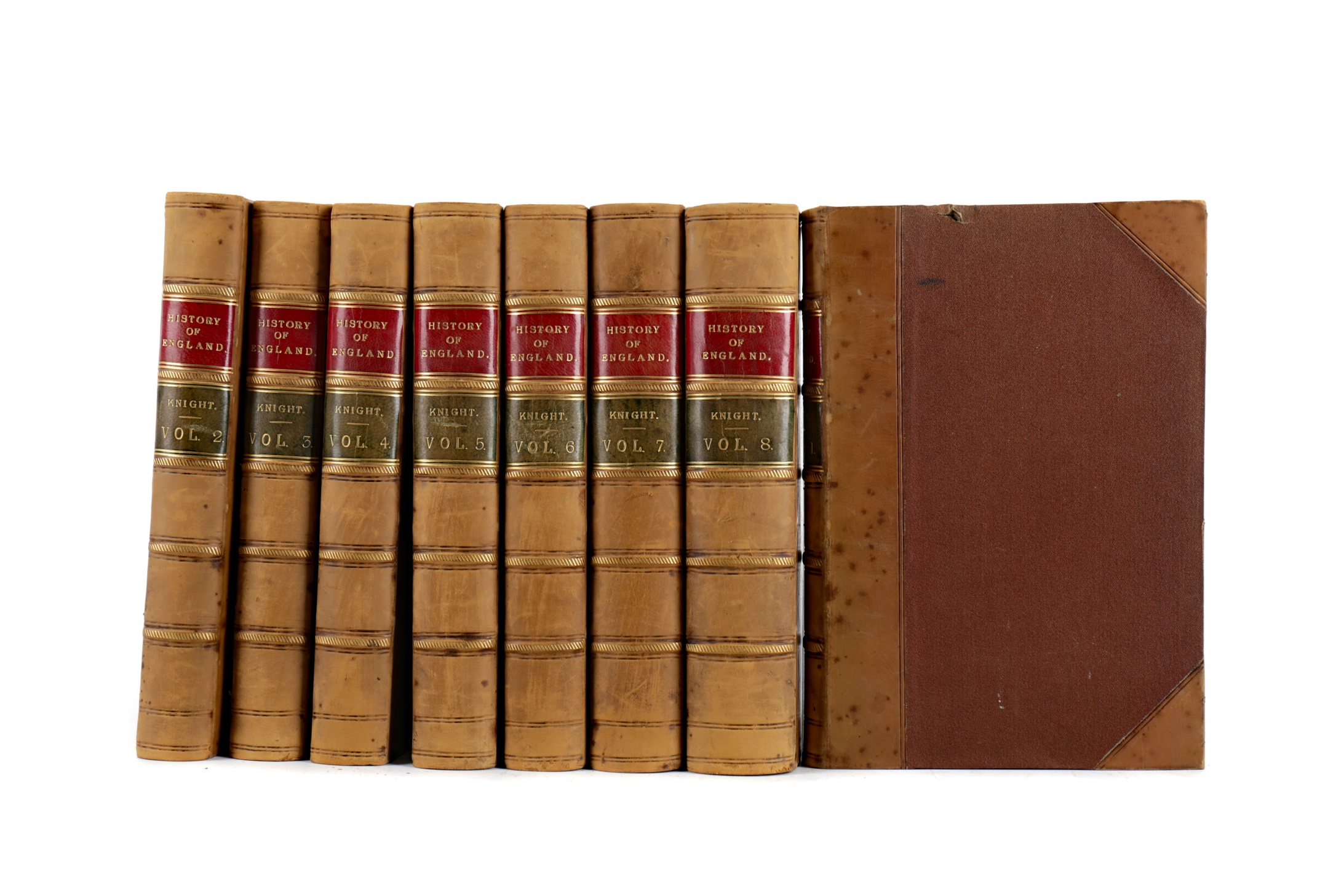 EIGHT VOLUMES OF KNIGHT'S POPULAR HISTORY OF ENGLAND