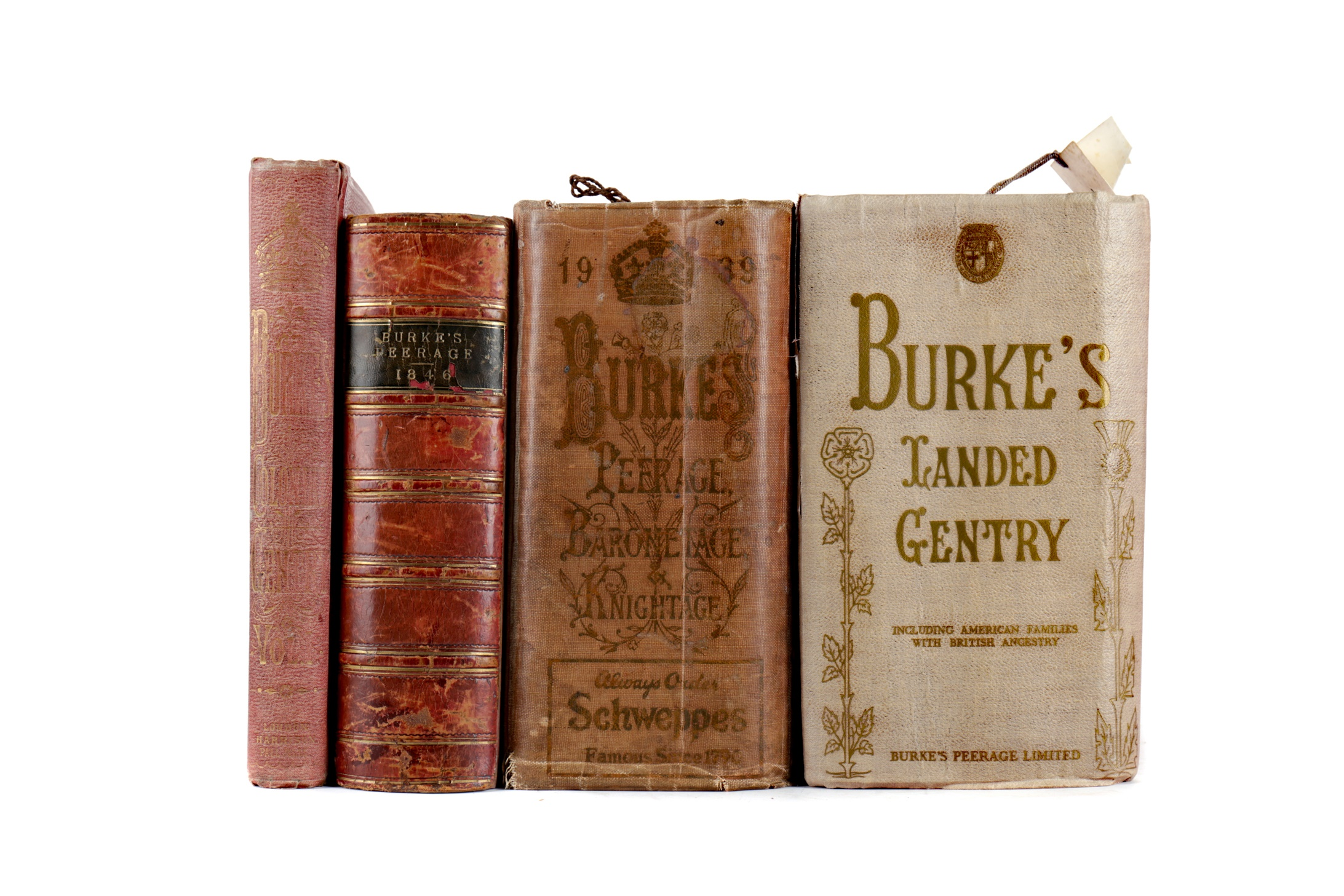 TWO VOLUMES BURKE'S PEERAGE AND TWO OTHER VOLUMES