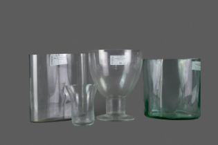 A LOT OF THREE GLASS VASES ALONG WITH A PEDESTAL BOWL