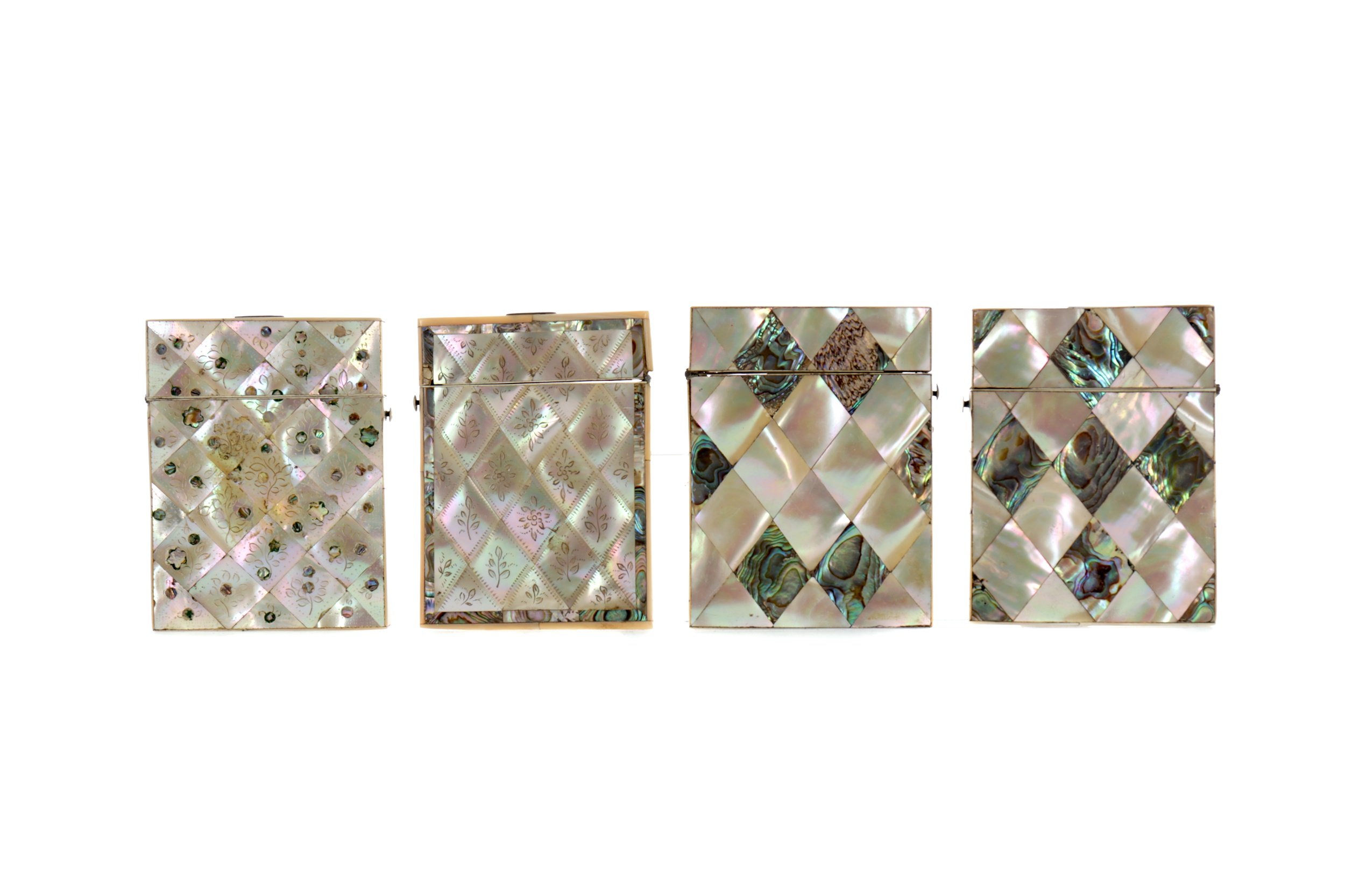 FOUR LATE 19TH CENTURY MOTHER OF PEARL CARD CASES