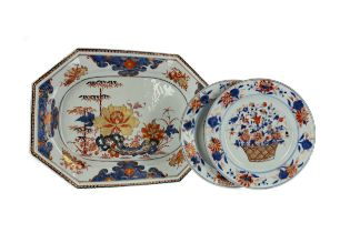 A LATE 19TH CENTURY JAPANESE IMARI BOWL, ALONG WITH AN IMARI DISH AND TWO PLATES