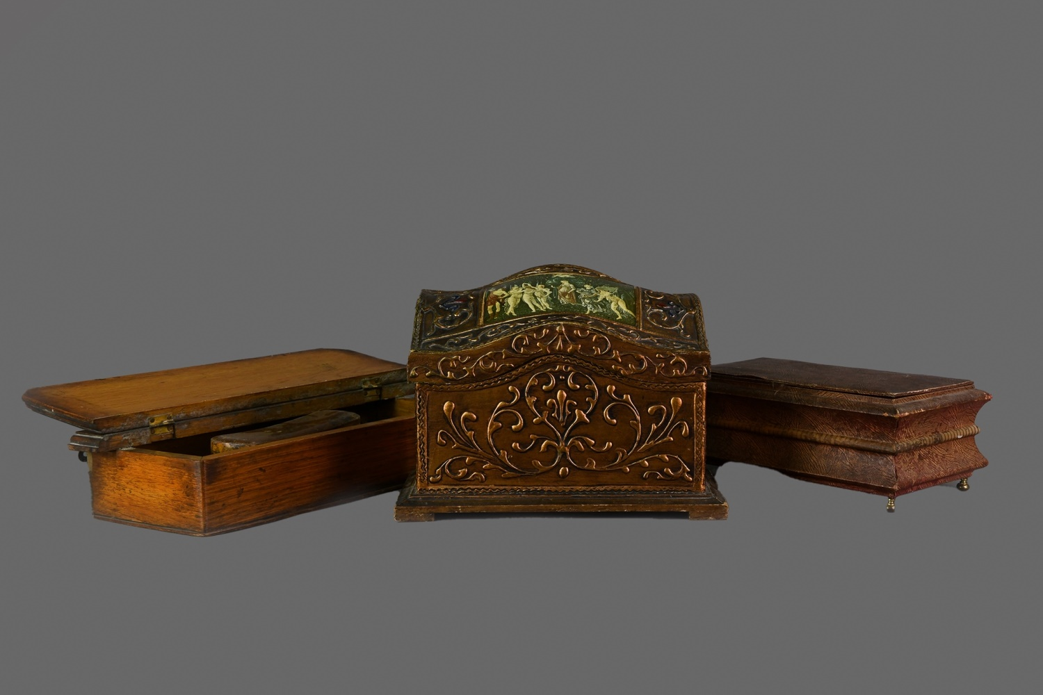 A BRONZED HARDWOOD LETTER BOX, ALONG WITH ANOTHER AND A JEWELLERY CASKET