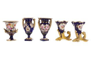 A PAIR OF EARLY 19TH CENTURY ENGLISH PORCELAIN VASES, ALONG WITH ANOTHER PAIR AND ONE OTHER